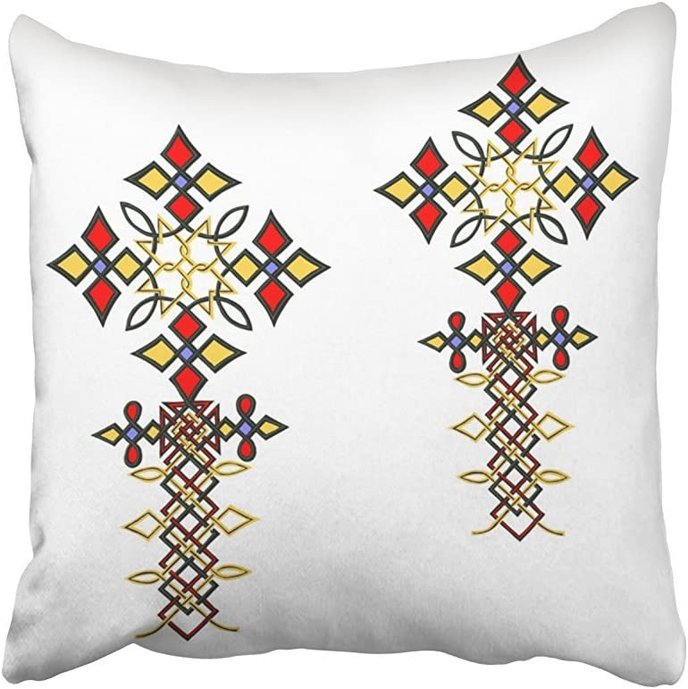 SPXUBZ Cross Ethiopian Cross Cotton Polyesterwith Hidden Zipper Decorative Home Decor Square Indoor/Outdoor Throw Pillowcase Size: 16x16 Inch(Two Sides)