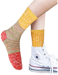 ad2c81303a9 VERO MONTE 4 Pairs Colorful Patterned Cotton Socks for Women Casual Crew  Socks
