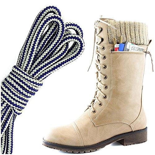 Dailyshoes Womens Combat Stijl Lace Up Enkellaarsje Ronde Neus Militaire Knit Creditcard Mes Geld Portemonnee Pocket Laarzen, Marineblauw Wit Beige Pu