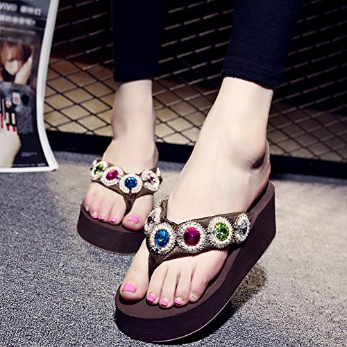 Thongs Women's Sandals Rhinestone Wedges Flip Beach Coffee Flops Platform with Slide nXqrwSxX6