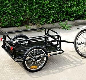 Aosom Wanderer Bicycle Bike Cargo / Luggage Trailer - Black Black