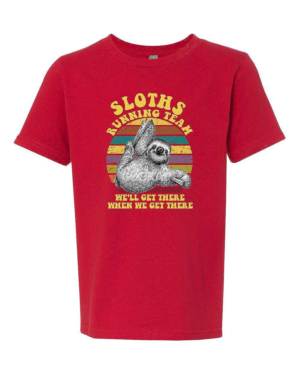 Custom Apparel R Us Sloth Running Team Girls Boys Short Sleeve