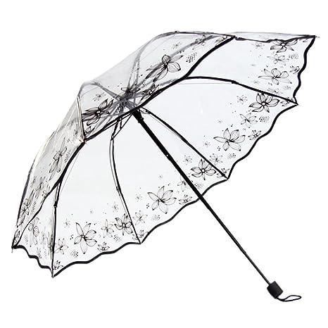 DAYAN transparente Impresión mariposa cordón espesamiento paraguas plegable paraguas multicolor B