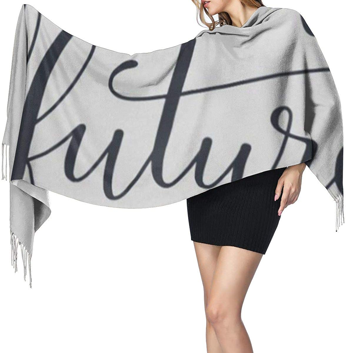 Fashion Lady Shawls,Comfortable Warm Winter Scarfs Female Femme Future Modern Brush Graphic Feminist Quote Slogan Text Soft Cashmere Scarf For Women