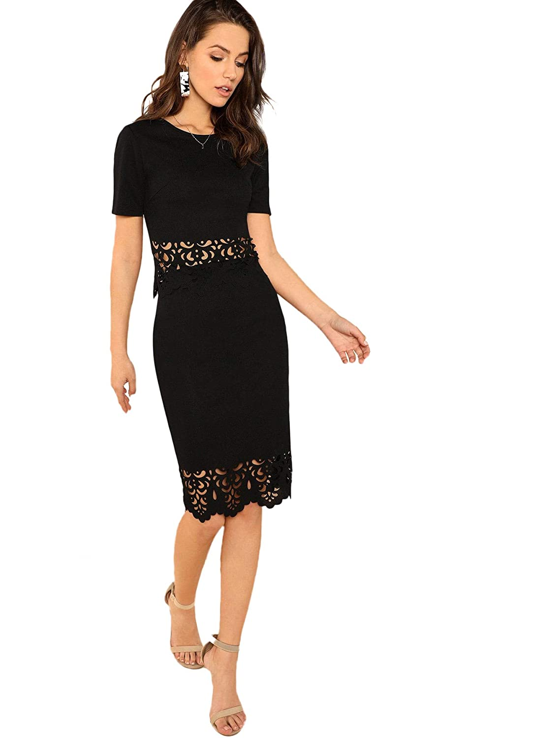 Black Verdusa Women's 2 Piece Outfits Elegant Scallop Fitted Top and Skirt Set Midi Dress
