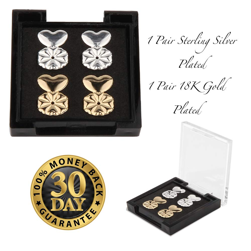 Earring Lifters - 2 Pairs of Adjustable Hypoallergenic Earring Backs - 1 Pair 18K Gold Plated and 1 Pair Sterling Silver Plated - for Heavy Earrings and Bad Piercings - best Earring Lifts by Daysam Daysam Ltd