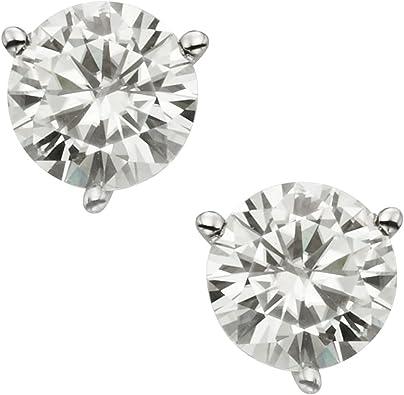 2 ct Rubis /& Diamant Clous d/'oreilles ronds 14Kt or blanc