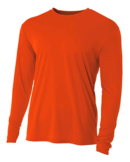 e42c89ad A4 Men's Cooling Performance Crew Long Sleeve, Athletic Orange, Small