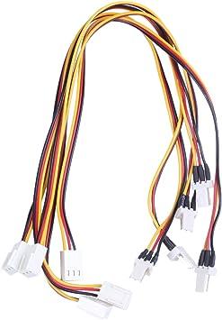 Cikuso PC Ordenador 3 Cables 3 Pin Ventilador Enfriador Cable ...