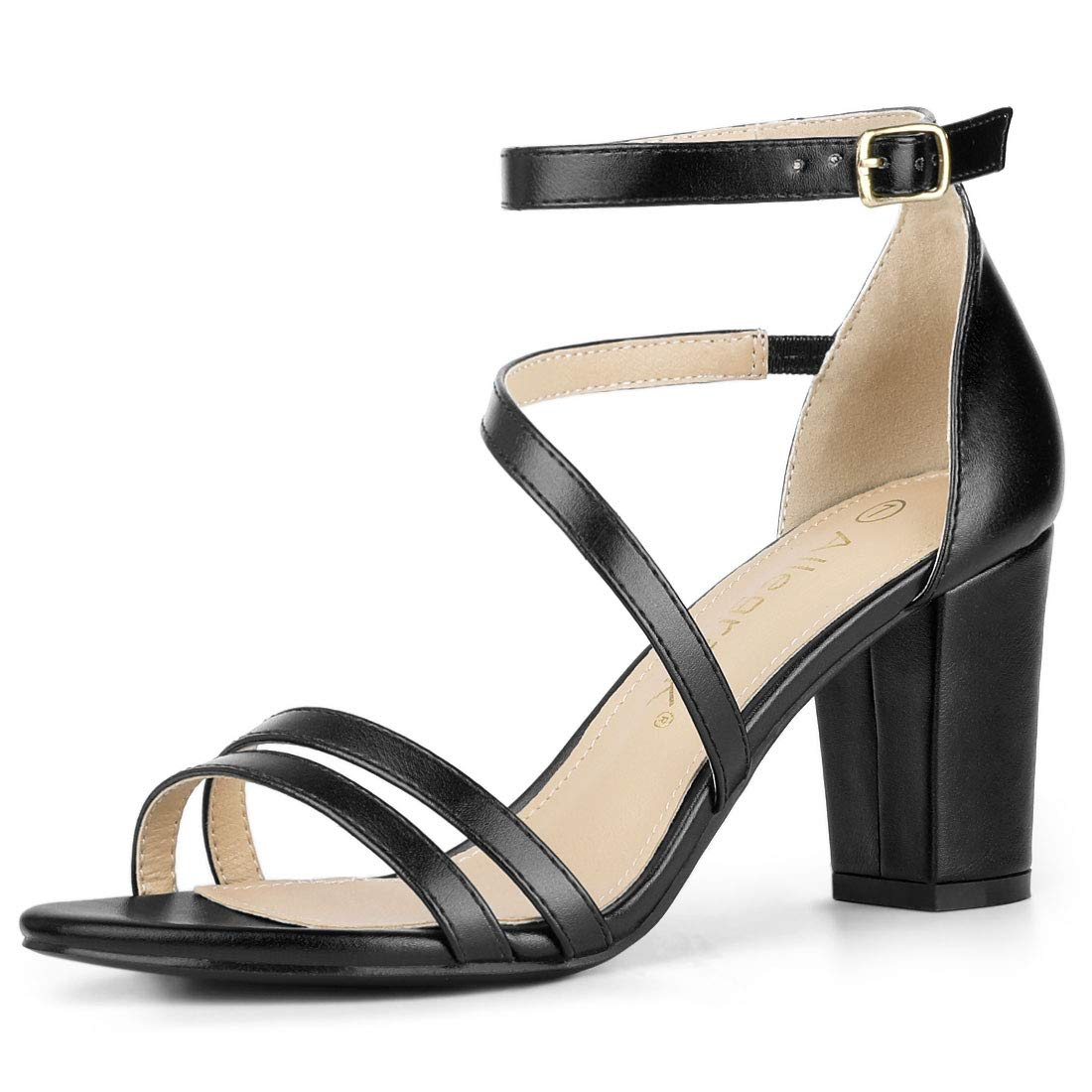 8a1a4aa15486d Amazon.com | Allegra K Women's Open Toe Ankle Strap Dress Block Heeled  Sandals | Heeled Sandals