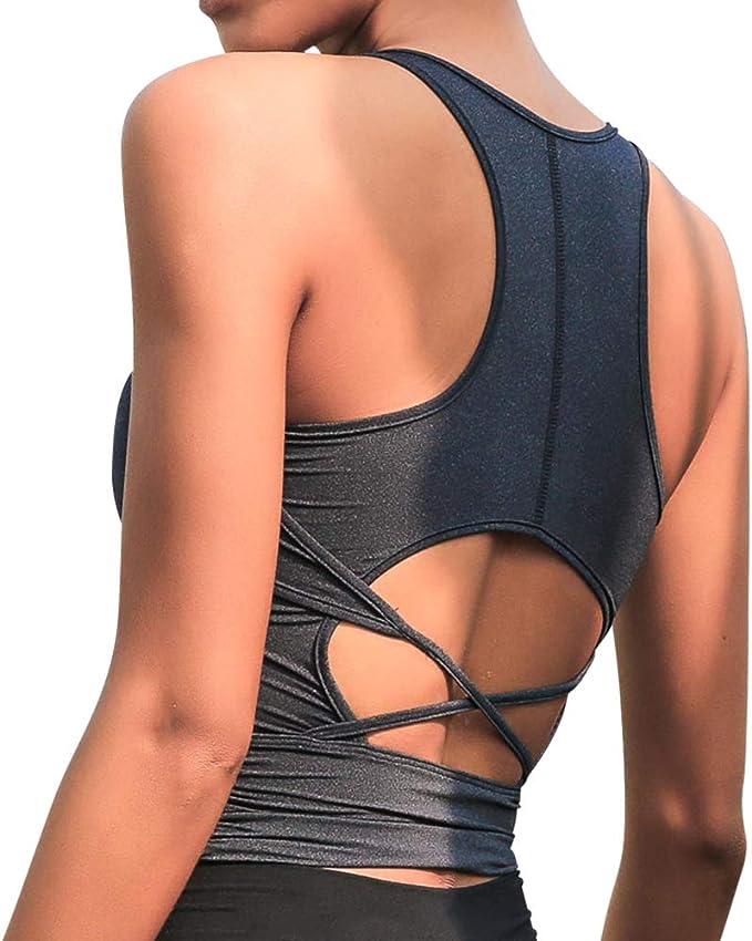 La Nikar Fashion Running Tops for Women - Unique Back Design Sleeveless Round Collar Gym Yoga Shirts