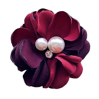 Amazon.com: Wansan - Broche con perlas y flores, para novia ...