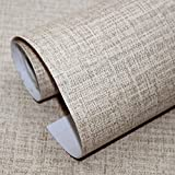 HaokHome H014 Faux Grasscloth Peel Stick Wallpaper 23.6in x 19.7ft Khaki Linen Self Adhesive Contact Paper Wall Decoration