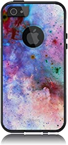 Unnito iPhone 5 Case – Hybrid Commuter Case   Slim Cover with Hard Shell Design and Soft Inner Layer Compatible with iPhone 5S / SE Black Case - Cosmos Nebula