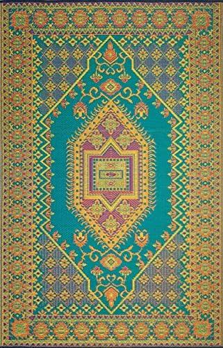Mad Mats Oriental Turkish Indoor Outdoor Floor Mat, 5 by 8-Feet, Aqua