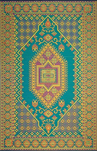 Mad Mats Oriental Turkish Indoor/Outdoor Floor Mat, 6 by 9-Feet, Aqua (Oriental Mats Door)