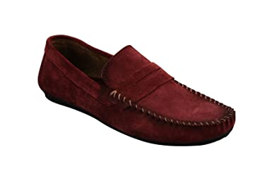 Mens Real Suede Washed Designer Slip On Loafers Moccasins Smart Casual Shoes Burgundy