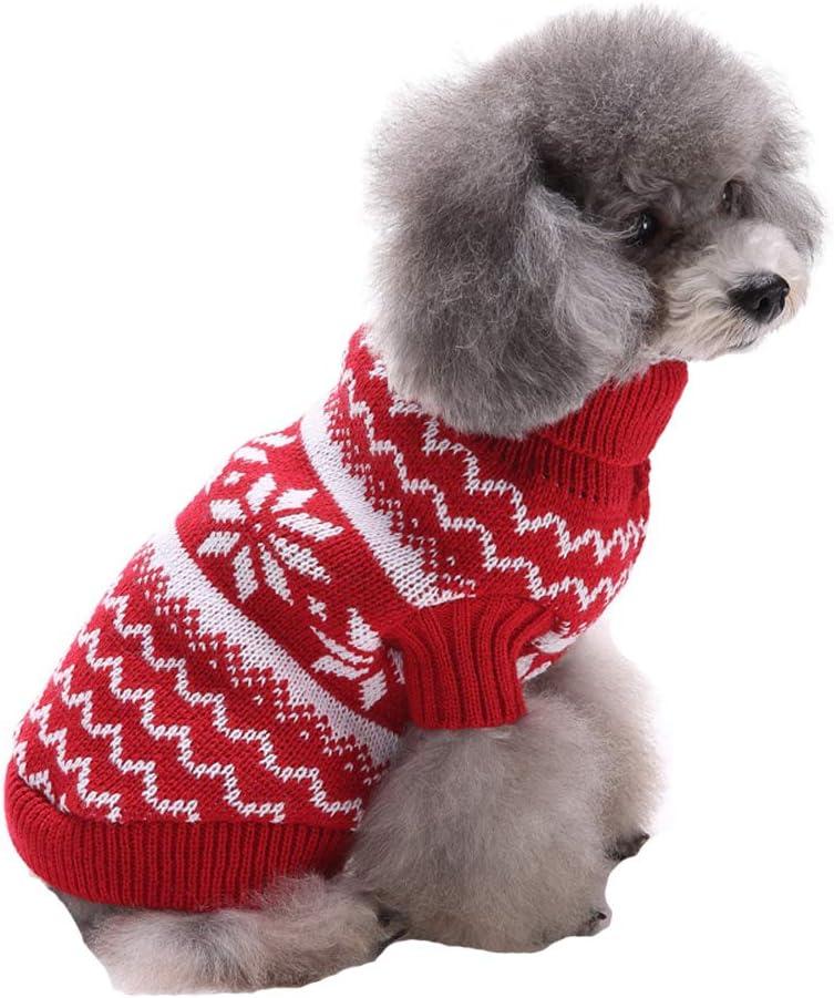 Tuopuda Navidad Mascotas suéter Invierno Perro Nieve Lana del Perrito Traje Caliente Ropa de Abrigo (XL, Rojo)