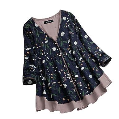 7773a5571367 GREFER Women Plus Size Tops Vintage Floral Print Folded Long Sleeve  Irregular Blouse T