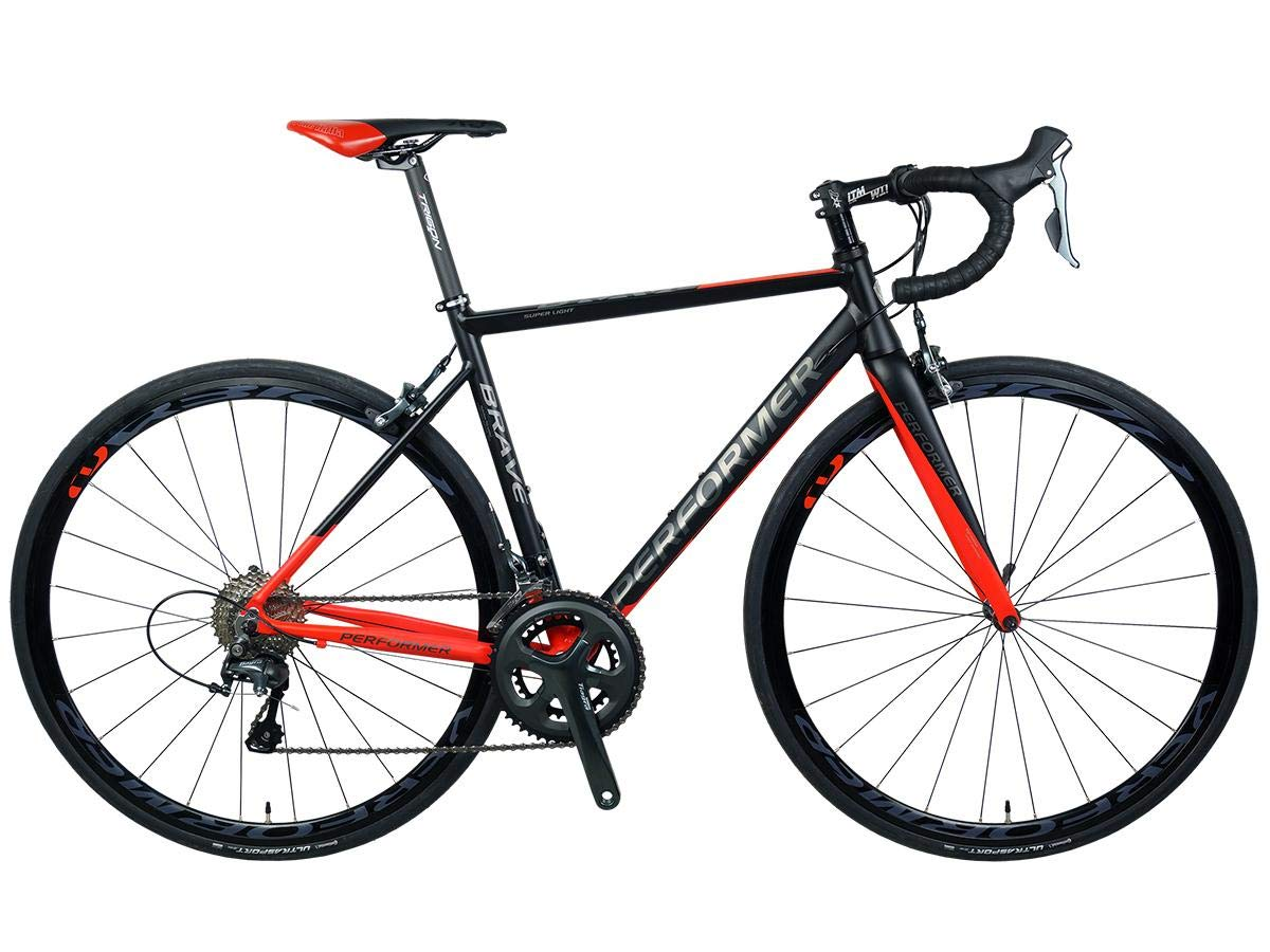 *Pro-Performer プロパフォーマー*〈BRAVE〉700C ロード バイク Shimano TIAGRA 20s Road Bike  艶消し黒赤 B07RTS7VXY