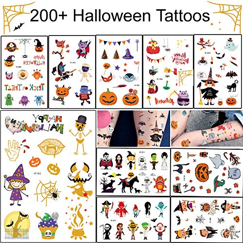 Halloween Temporary Tattoo - 20 Sheets 200+ Cute Designs Halloween Tattoos Stickers for Kids]()