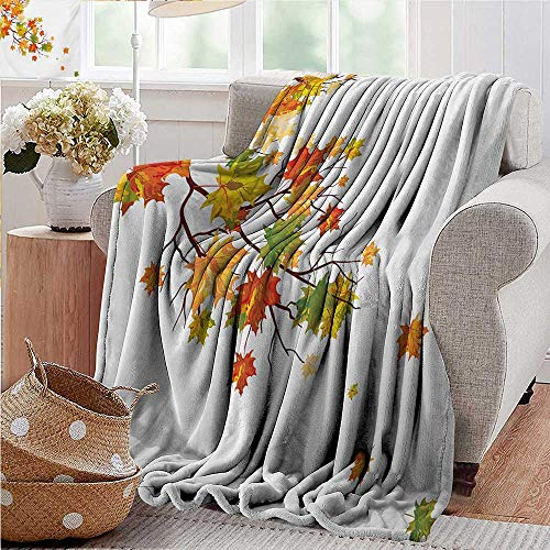 cool weighted blanket adult,Fall,Fall Image with Canadian Maple Leaves Botanical Foliage Nature Warm to Cold Effects,Yellow Orange,300GSM,Super Soft and Warm,Durable Throw Blanket - Bunk Size Maple Twin Bed