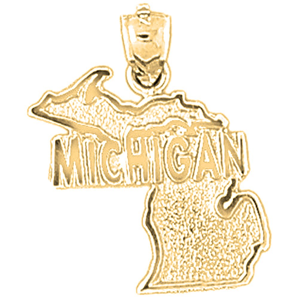 10K Yellow Gold Michigan Pendant - 26 mm by Jewels Obsession (Image #1)