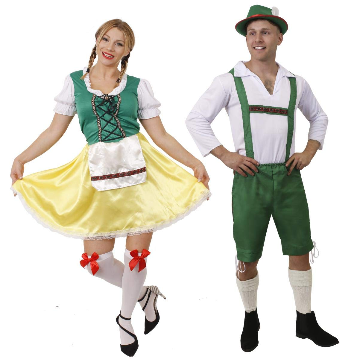 b072191932d LADIES BAVARIAN BEER GIRL FANCY DRESS COSTUME OKTOBERFEST WOMENS BEER  GERMAN MAID WENCH BEER FESTIVAL GREEN & YELLOW DRESS WITH APRON SIZES 8-10