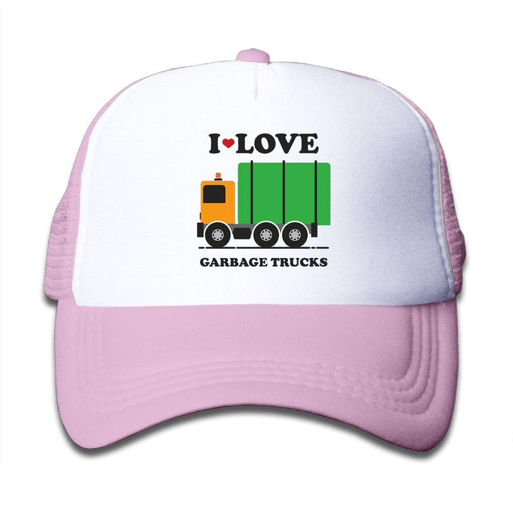 Oyxinyu I Heart Love Garbage Trucks Mesh Baseball Caps Children Adjustable Trucker Hats for Boy Girl