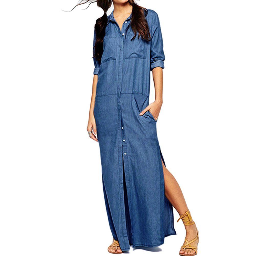 8c47d55f Features: Casual Loose, Turn-down Collar,Single Breasted, Side Split, Long  Sleeve, Denim Shirt Dress. Occasions: Perfect for Daily Wear, ...