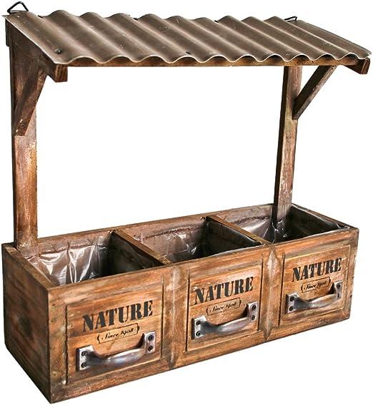 Jardinera madera con 3 compartimentos y techo para colgar Nature – Maceta barricas Alto Maceta Vintage Retro Shabby Chic de imitación: Amazon.es: Jardín