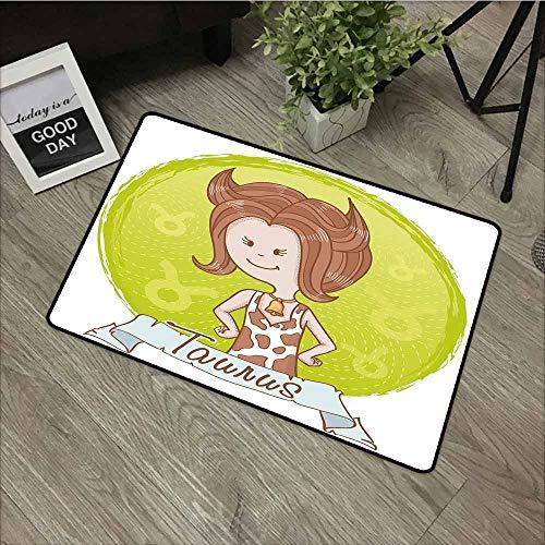 Bath mat,Taurus Cute Cartoon Little Girl Dressed Like Cow with Spots and Horns Image,Anti-Slip Doormat Footpad Machine Washable,31