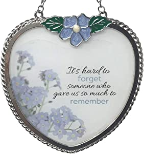 BANBERRY DESIGNS Memorial Suncatcher - Periwinkle Blue Flower Charm and Forget Me Not Floral Design Printed on Glass - It's Hard to Forget Someone Who Gave Us So Much to Remember - Approx. 4 Inch