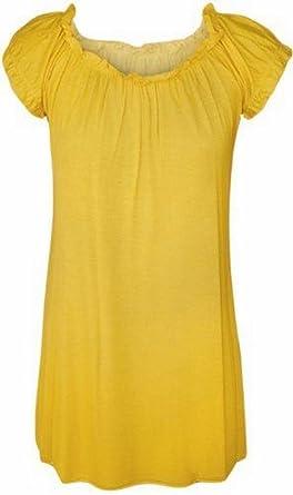 9097a266730f6 New Womens Plus Size Gypsy Boho Tunic Tops 18 Yellow  Amazon.co.uk ...