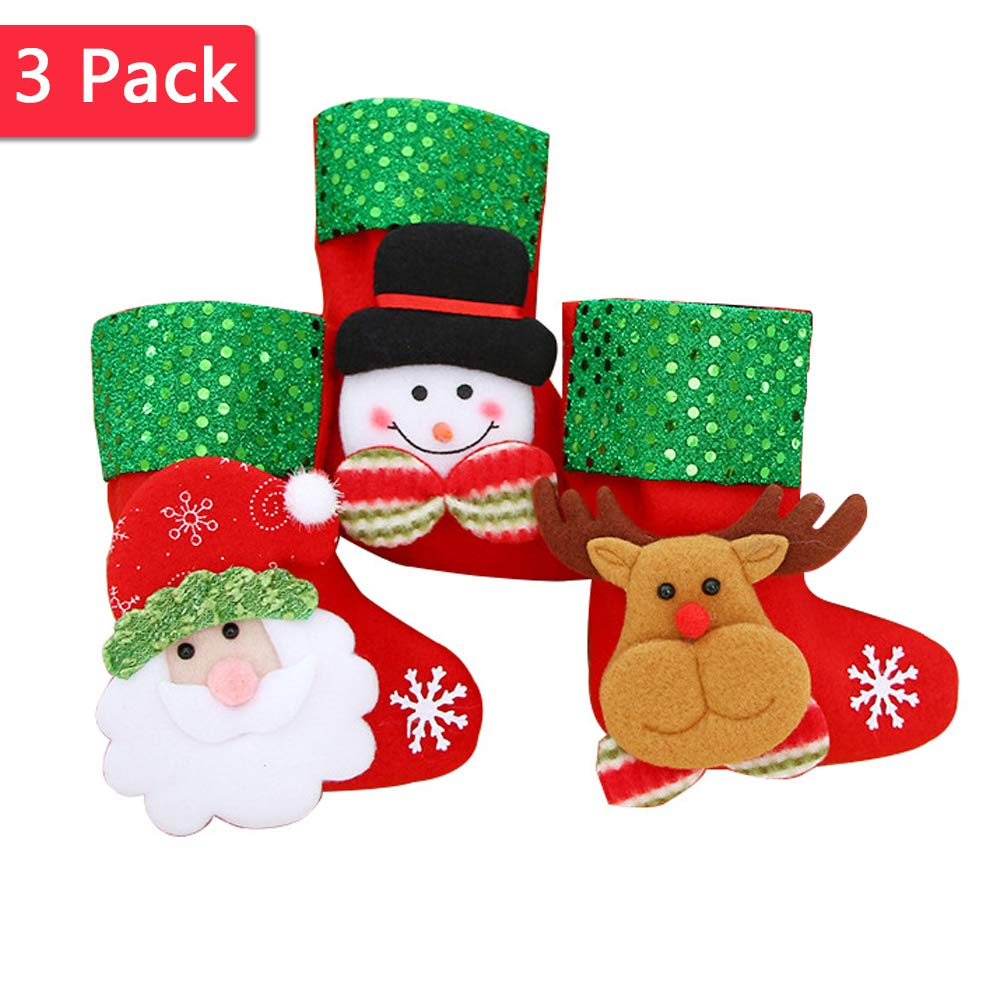 3 Pcs Christmas Stockings Santa Snowman Elk Christmas Tree Hanging Decoration Willsm