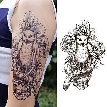 Oottati Tatuajes Temporales Muslo Brazo Flores calaveras Del Búho (2 hojas)
