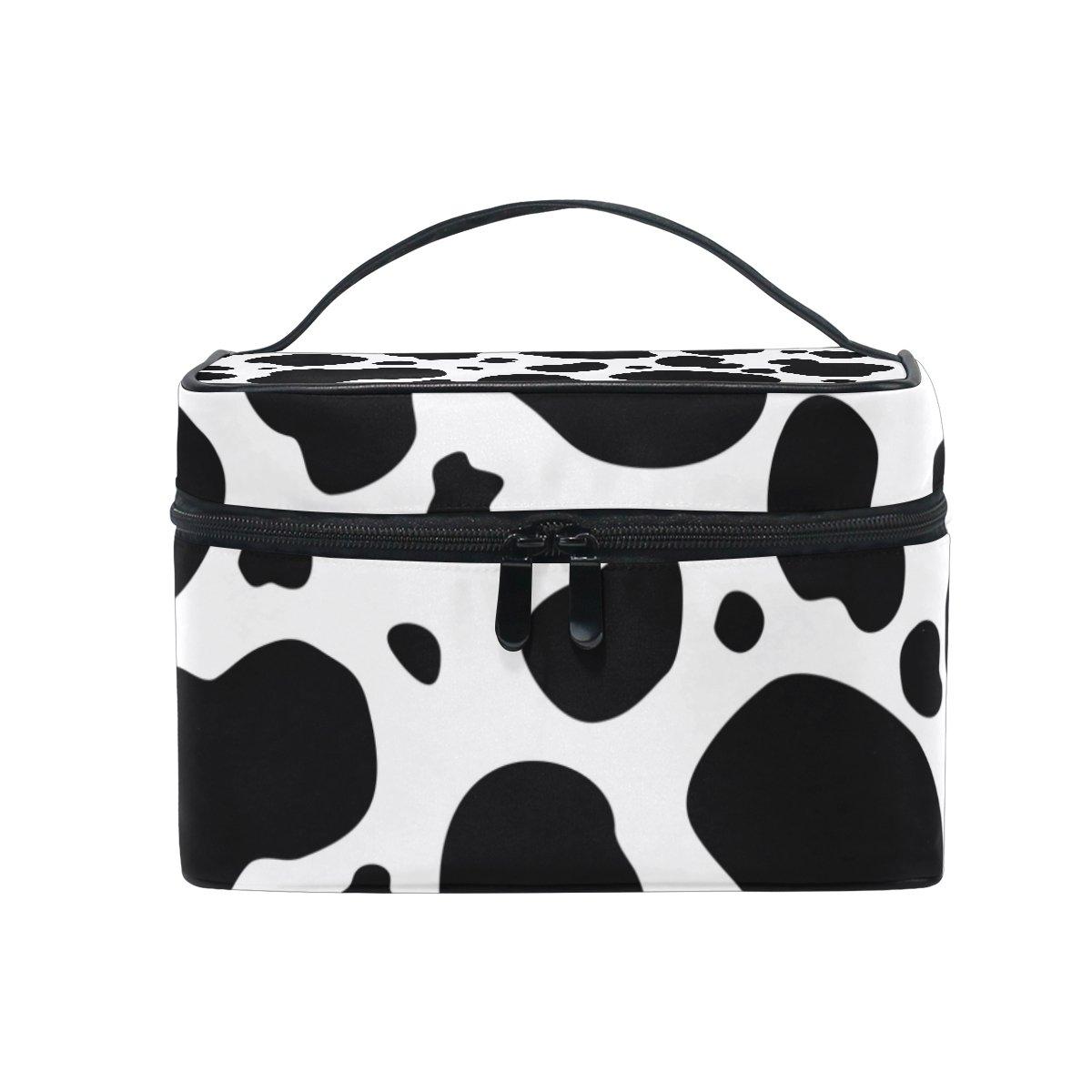Modelo blanco y negro de la vaca cosmética bolsa de viaje Neceser