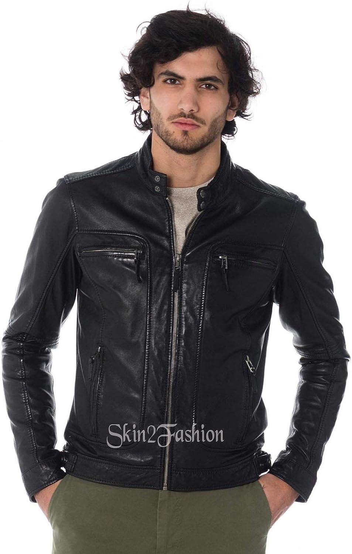 Skin2Fashion Mens Leather Jackets Motorcycle Bomber Biker Real Leather Jacket 100