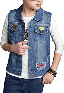 ShiFan Boys Sleeveless Denim Vest Kids Ripped Jean Jacket Lightweight Coat