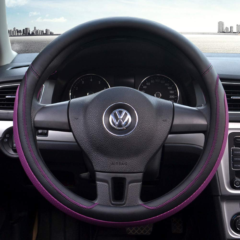 Proumhang Universal Four Seasons Steering Wheel Covers Microfiber Leather Non Slip Cover Breathable 38cm-Pink