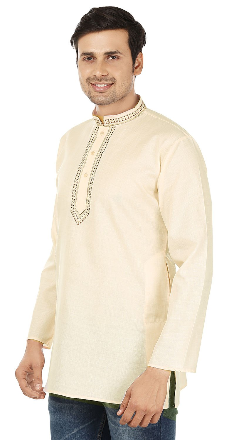 Indian Clothing Fashion Mens Embroidered Short Kurta Cotton (Cream, XL) by Maple Clothing (Image #3)