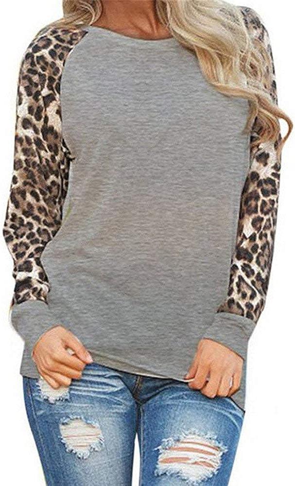 Miuye yuren-Women Leopard Blouse Long Sleeve T-Shirt Fashion Oversize Tops Round Neck Pullovers for Ladies