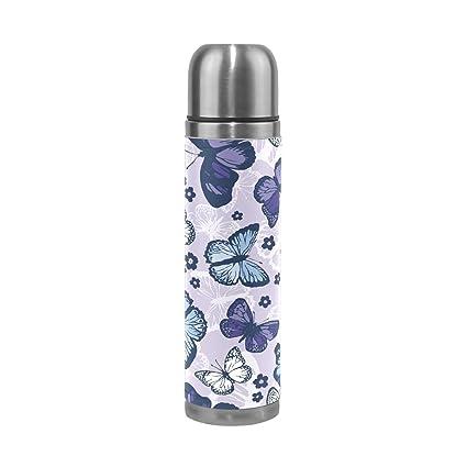 Amazon.com: ALAZA mariposa Botella de agua acero inoxidable ...