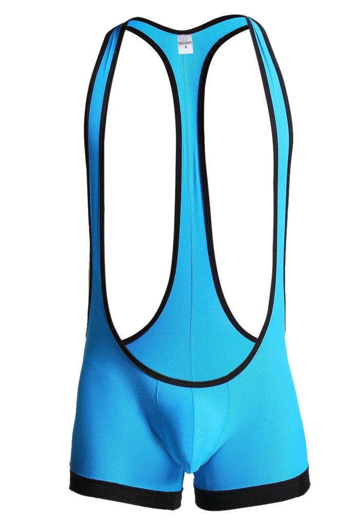 Leories Men's Sexy Lingerie Bodysuit Boxer Briefs Suspenders Singlet Underwear L Blue