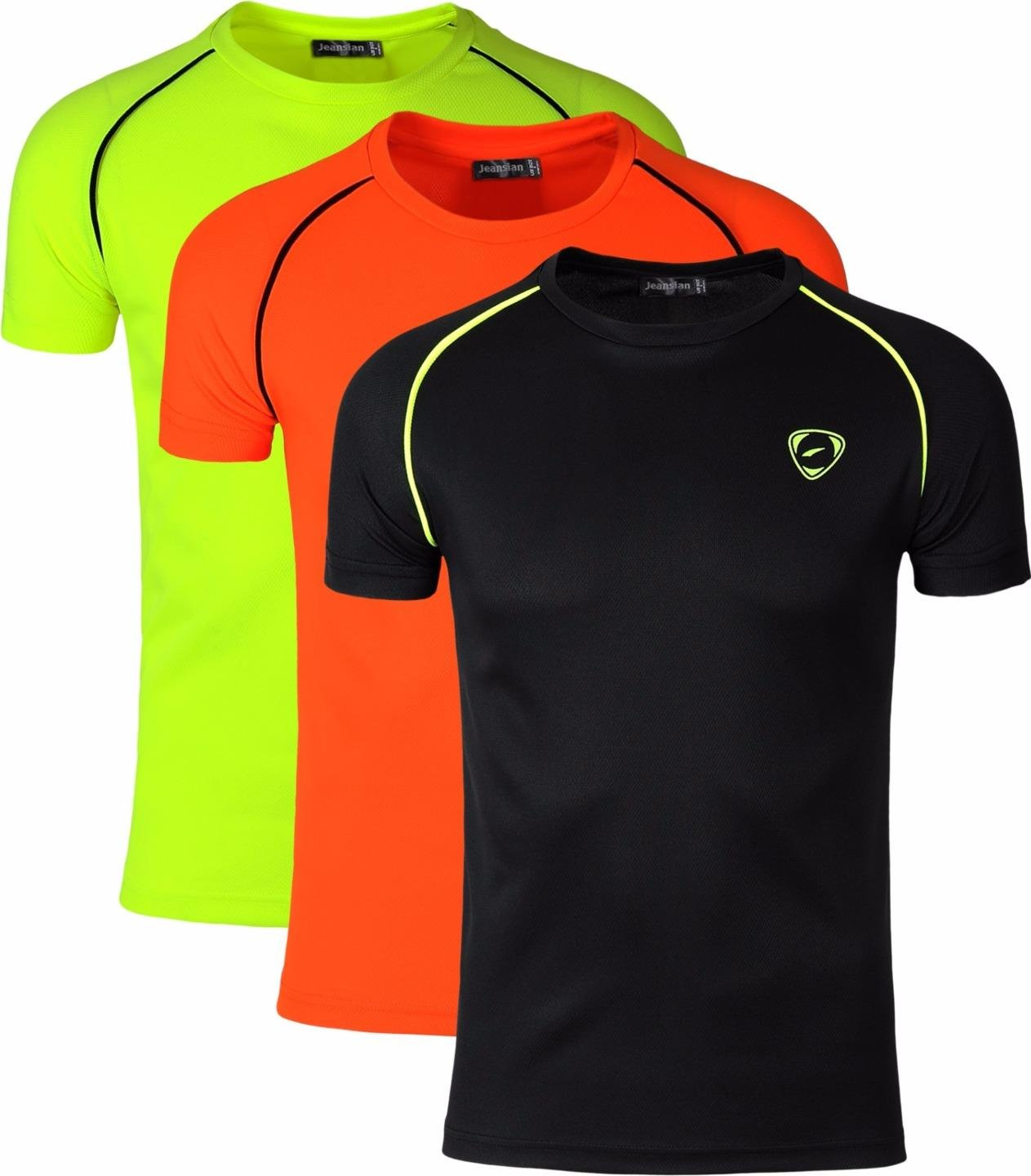 jeansian Men's 3 Packs Athletic Quick Dry Compression Sport T-Shirt Tees LSL182 MFN_LSL182