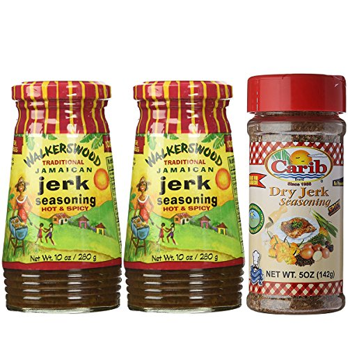 Walkerswood Traditional Jamaican HOT & SPICY Jerk Seasoning 10oz and Carib Dry Jerk Seasoning (Pack-of-3) (Jerk Rub)