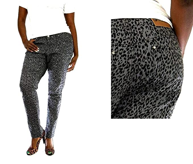 dde9641b868 Jeans Colony Women s Plus Size Leopard Cheetah Animal Print Stretch Twill Denim  Jeans Skinny Pants (