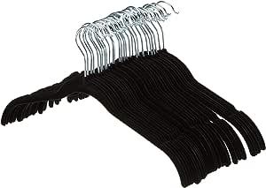 AmazonBasics Velvet Shirt/Dress Hangers - 30 Pack, Black