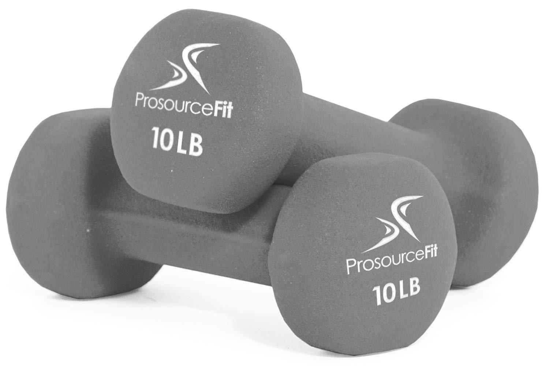 ProsourceFit Set of 2 Neoprene Dumbbell Coated for Non-Slip Grip, Grey-10lb