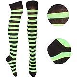 Striped Green And Black Over The Knee Socks (accesorio de disfraz)